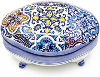 Alcoa Arte Hand-painted Decorative Traditional Portuguese Ceramic Footed Jewelry Box