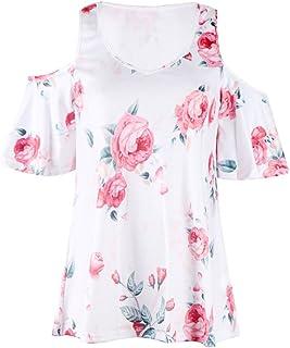 NMY Camiseta de Verano con Cuello en v Estampado de Mujer T-Shirt de Manga Corta Tops
