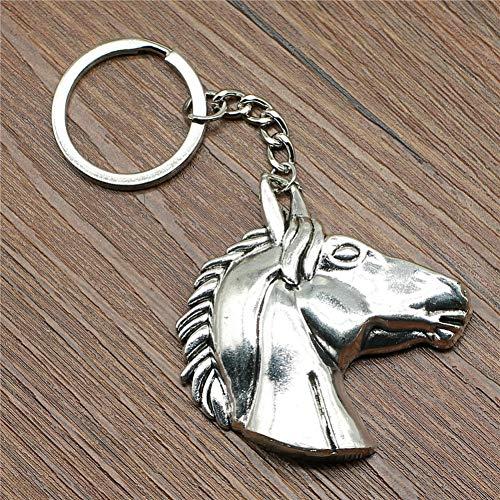 N/ Een Sleutelhanger Grote Paard Hoofd Sleutelhanger 52X51Mm Verzilverd Mode Handgemaakte Metalen Sleutelhanger Souvenir Geschenken Voor Vrouwen