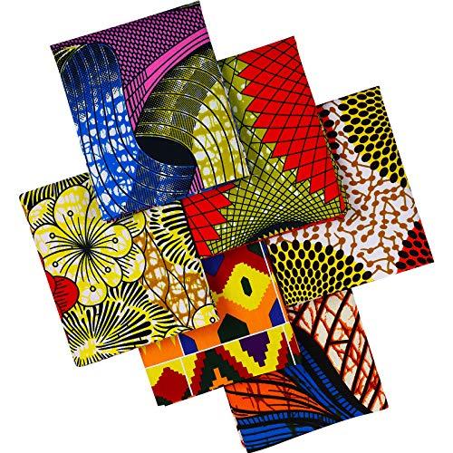 Tela Africana Grande de 19,5 x 15,7 Pulgadas/ 50 x 40 cm Tela con Estampado de Cera de Ankara Tela Acolchada Estampada Africana de Algodón para Coser Protectores Faciales, 6 Piezas