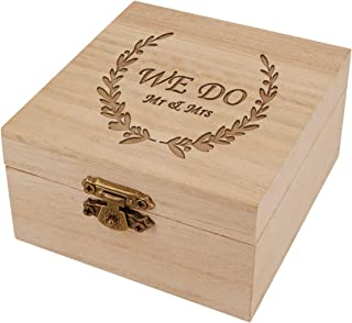KWOOD Custom Decorative Jewelry Box,Personalized Wooden Wedding Ring Box,Best Gift Engraved Wood Ring Box for Mr & Mrs Engagement Anniversary Valentine's Day