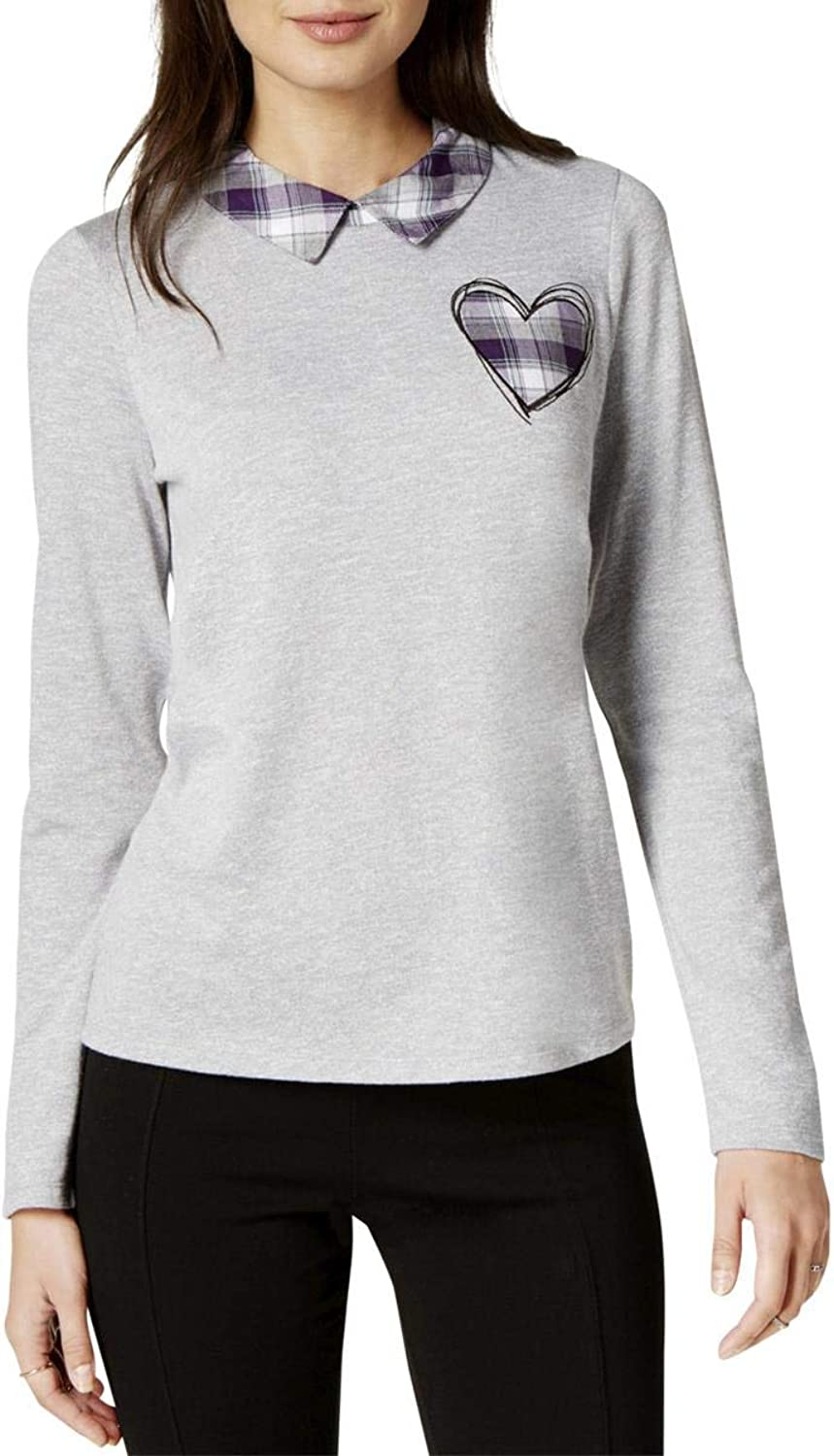Maison Jules Womens Laid Heart Collared Knit Blouse
