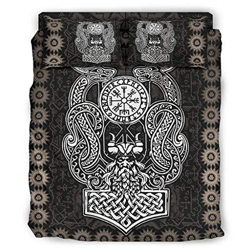 Hanebar Laickter Juego de cama de 4 piezas Viking Odin Dragon popular sin arrugas - Juego de cama blanco 240 x 264 cm