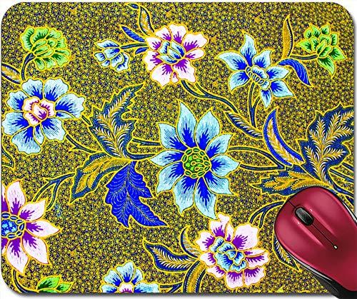 Batik Sarong Muster Hintergrund In Thailand Traditionelle Batik Sarong In Asiatischen Rutschfesten Mousemat Gummi Mauspad,Gaming Mousepad 30X25CM,Maus Mausunterlage,Rutschfeste Unterseite