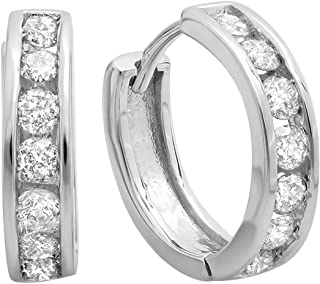 Dazzlingrock Collection 0.50 Carat (ctw) 10K Gold Round Diamond Ladies Mens Unisex Huggie Hoop Earrings 1/2 CT