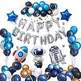 Ponmoo Bleu Ballons Deco Anniversaire Gargon 76pcs, Astronaute Decoration Anniversaire Fusée Garcon, Kit Anniversaire Espace Fusée Decoration Ballons Happy Birthday Party, Joyeux Anniversaire Ballons