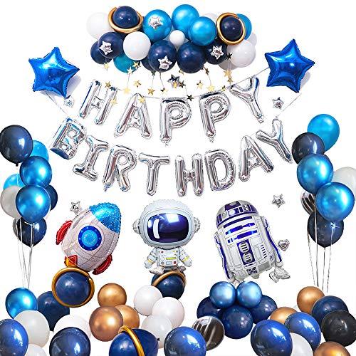 Ponmoo Geburtstagsdeko Jungen Roboter Luftballons Deko Geburtstag Blau 76pcs, Astronaut Kindergeburtstag Dekoration Junge, Dekoration Ballons Geburtstagsdeko Happy Birthday Geburtstag Folienballon