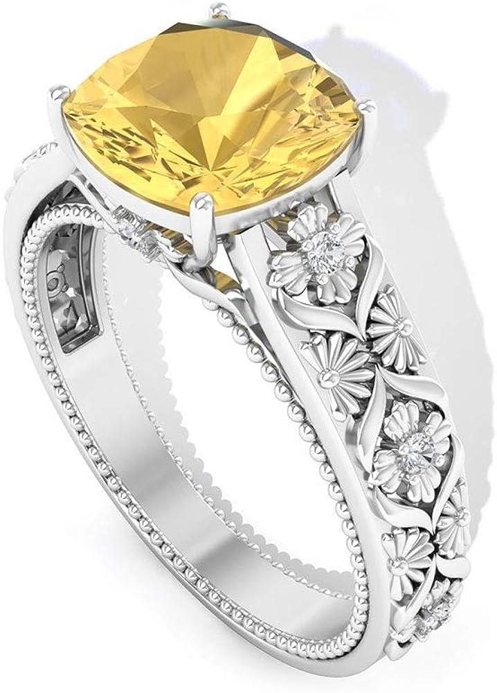 2.1 Ct Citrine Engagement Ring, Filigree Vintage Statement Ring, Cushion Cut Gemstone Anniversary Ring, SGL Certified Diamond HI-SI Wedding Ring, 14K Gold