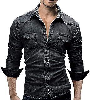 Camisas De Hombre Camisa De Mezclilla Retro Blusa De Tamaños Cómodos Vaquero Camisas De Mezclilla Delgada con Mangas Camis...