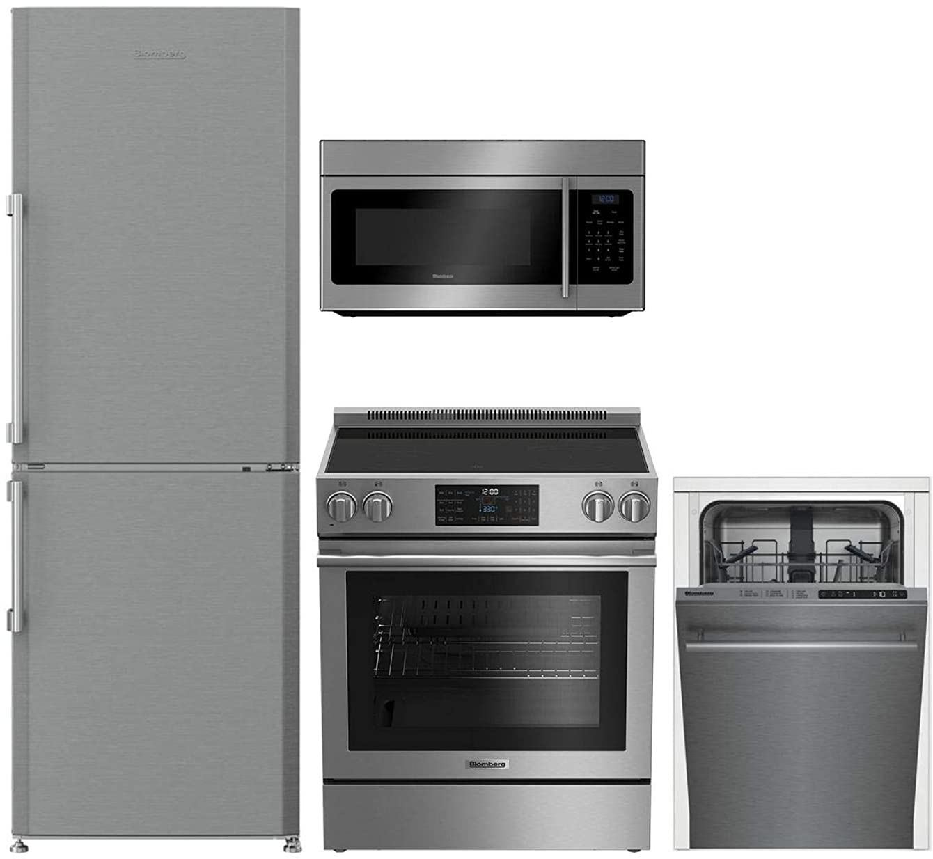 Blomberg 4 Pcs Kitchen Package with BRFB1044SS 24