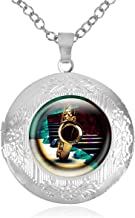 Women's Custom Locket Closure Pendant Necklace Saxophone Pian Musical Instruments Included Free Chain, Best Gift Set