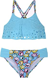 Hilor Girl's Bikini Swimsuits Ruffle Flounce Two Piece Beach Swimwear Tankini Set