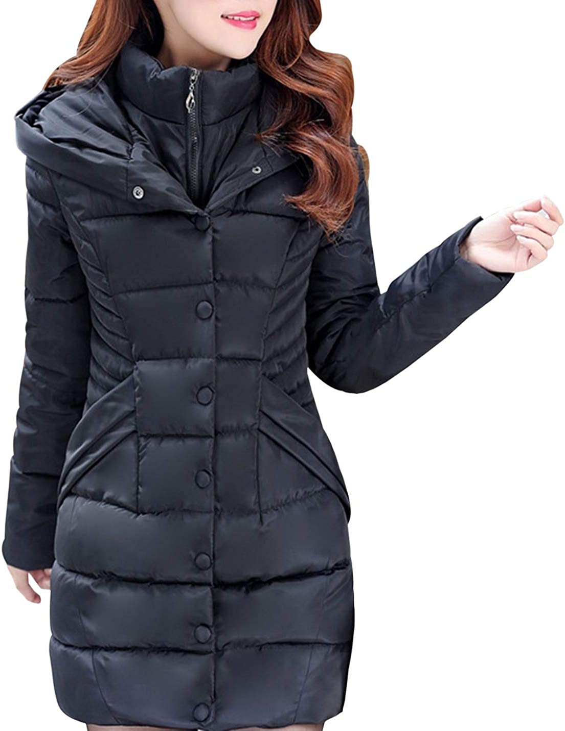 Women's Down Alternative Quilted Mid-Length Thicken Puffer Coat with Hood
