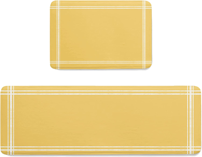 ZOE STORE 2 Pieces Special price Memory Sponge Indoor Set Yello Doormats Solid trust