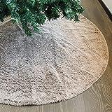 Juegoal Luxury Christmas Tree Skirt, 48 Inch Faux Fur Soft Plush Mat Christmas Tree Mat for Xmas Holiday Party Decoration, Grayish Brown