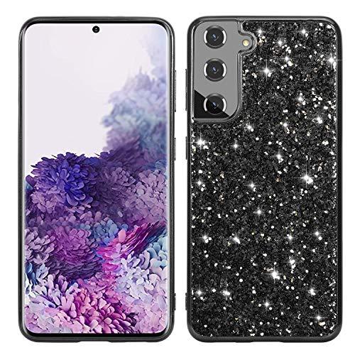 Carcasa para Samsung Galaxy S21, de silicona flexible, con purpurina y brillantes, color negro