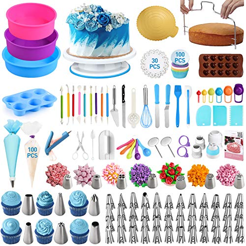 Cake Decorating Supplies 340 Pcs - Cake Decorating Kit with Silicone Cake Pans | Cake Turntable | Piping Tips Set | Silicone Muffin Pan - Cake Baking Supplies for Beginners and Cake Lovers