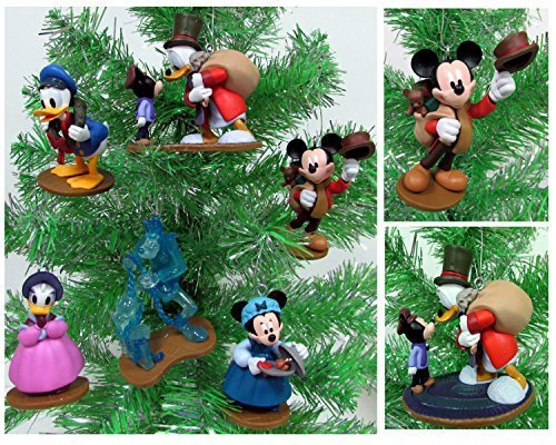 MICKEY'S CHRISTMAS CAROL 6 Piece Christmas Tree Ornament Set With Bob Cratchit, Emily Cratchit, Ebenezer Scrooge, Tiny Tim, Jacob Marley's Ghost, Fred and Isabelle