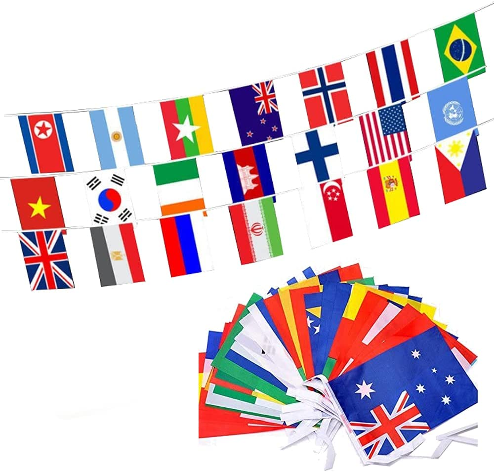 MF2FLAY 100 Countries String Flags, 82 Feet International Bunting Banner, 8.2'' x 5.5'' Olympic World Pennants for Bar, Sports Clubs,Party Events