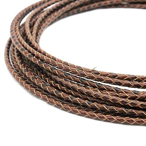 5 Meter Brown Braided Round Leather Bracelet Cord DIY Rope String Jewelry Making