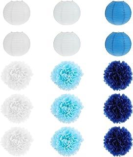 Generic 15PCS Tissue Paper Flowers Ball Pom Poms Paper Lanterns Craft Kit for Birthday Baby Shower Bridal Shower Wedding P...