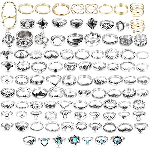 LOLIAS 101 Pcs Vintage Knuckle Ring Set for Women Girls Stackable Rings Set Hollow Carved Flowers (B:101 Pcs a Set)