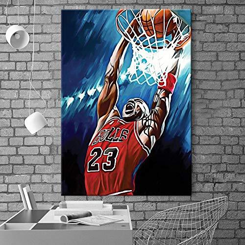 5D DIY「Estrella de baloncesto negro」Kit De Pintura De Diamantes/Niño Dormitorio Diamante Completo Punto De Cruz Pintura Decorativa/Juego de rompecabezas para niños adultos principiantes -40x50cm