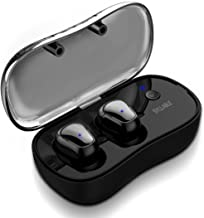 Wireless Bluetooth Earbuds, Syllable Sweatproof in-Ear Earphones with Mic and Smart Charging Box Dock for Sports Running (Black) (Black1)