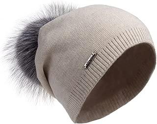 Pilipala Women's Slouchy Beanie Hat with Fur Pompom Warm Winter Hat