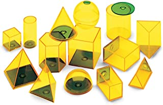 hand2mind Plastic Fillable 3D Shapes, Yellow Geometric Solids for Measuring Volume (Set of 14)