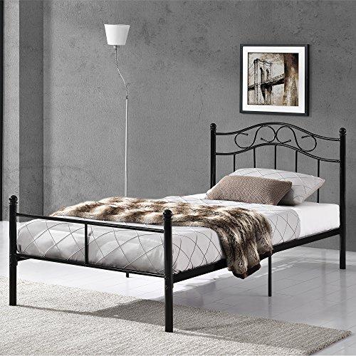 [en.casa] Metallbett 120x200 Schwarz mit Lattenrost Jugendbett Bett Metall Bettgestell