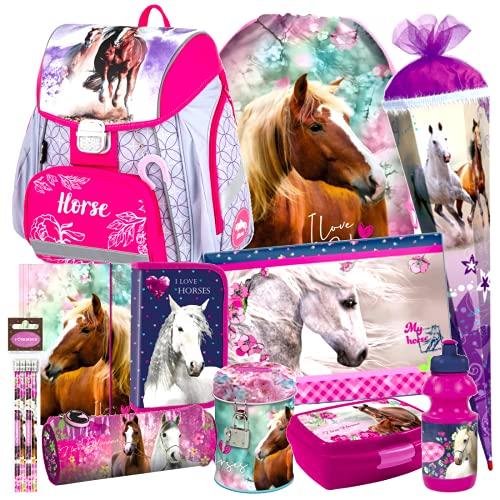 Unicornio, caballo, pony, caballo, juego de 14 piezas, mochila escolar con pegatinas de -Kids4shop, bolsa escolar, 85 cm, bolsa Tornister