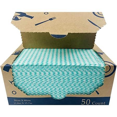 Atitifope 高耐久 再利用可能な布 フードサービスワイプ 多目的クリーニングタオル 30cm x 40cm グリーン