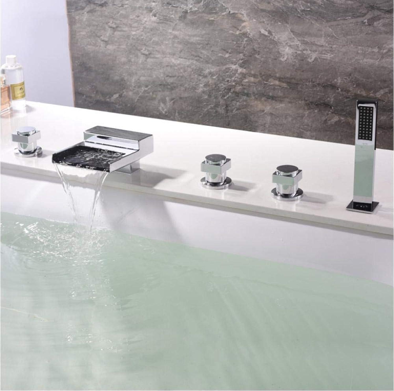 Badewanne Wasserhahn Badezimmer Wasserfall Deck montiert Mischbatterie Badewanne Duschkopf Badewannenarmaturen Regendusche Set Wasserhahn für Badewanne