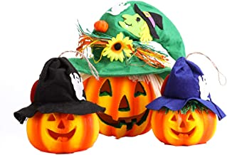 VIVOHOME Halloween Decorative Foam Light Up Pumpkin Jack O Lanterns with Witch Hat Battery Operated Set of 3