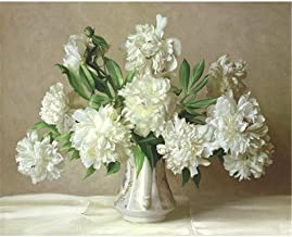 Painting by Numbers Adult White Flowers Oil Painting Pre-Printed Canvas Kids Kits Home House Decor-40 * 50cm (Frameless)