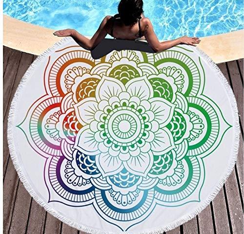 Vanzelu Ronde strandhanddoek met kwastje microvezel absorberende mat sprei tapijt deken zwemmen badhanddoek picknick mat 150x150cm buiten