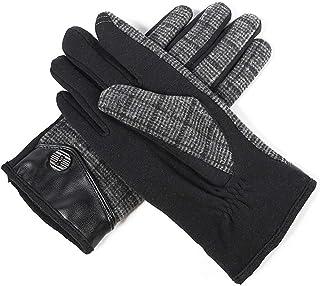 HAOSHUAI Wol Herenherfst en Winter Warm en Fluwelen Touch Screen Vingerhandschoenen, Meerdere kleuren Ridding handschoenen (Kleur : Zwart)