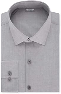 Kenneth Cole REACTION Mens Technicole Slim Fit Solid Spread Collar Dress Shirt