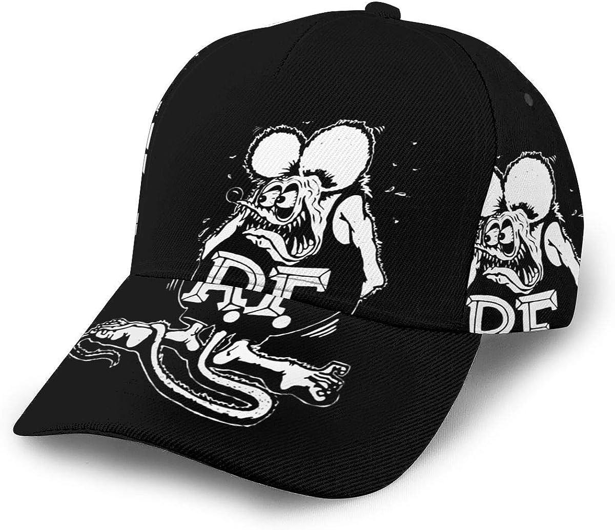 LuchinoVisconti Rat Fink 3D Printed Adjustable Baseball Cap,Hip Hop Snapback Hat for Men Women Teens Black