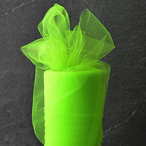 6 Inch x 25-yards Craft Tulle Roll for Wedding Decoration, 1 Roll, Key Lime, MOR-1365