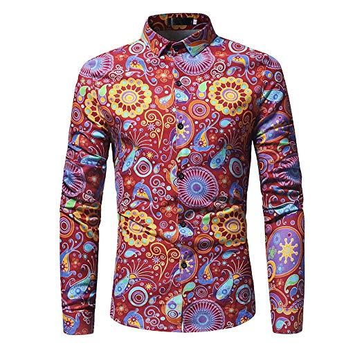 ♫♫ Amlaiworld weich Baumwolle Mode Hemd bunt Muster drucken Langarmshirts Herbst Frühling Freizeit Oberteile Outdoor Büro Männer Pullis
