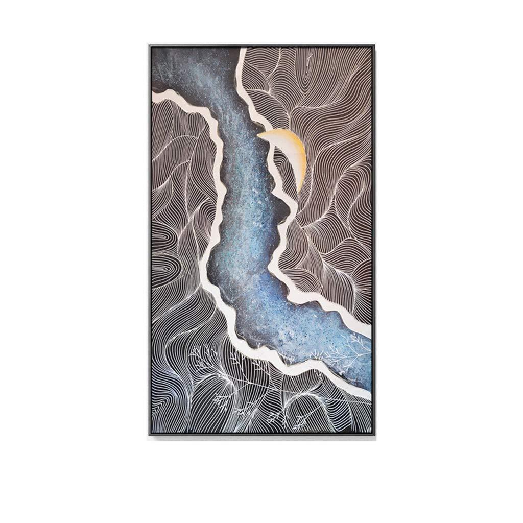 YYAJT Moderno Abstracto Pintura Decorativa Sala de Estar Fondo Escalera Estudio Entrada Vertical Entrada Porche Pintura (Color : Black Frame, Size : 70 * 130cm): Amazon.es: Hogar