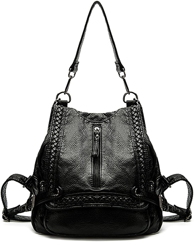 LoXTong Black PU Women Backpack Travel Handbag Rucksack Crossbody Shoulder Girl School Bag