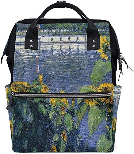 Gustave Schoolrugzak, olieverfschilderij, zonnebloem, stijlvolle verzorging, luiertas, baby, mummierugzak, grotere capaciteit print moer, waterdichte draagtassen, papa, mummiezak, rugzak
