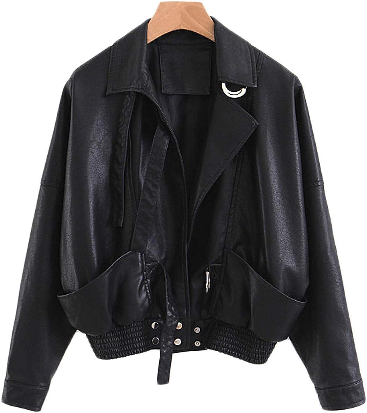 Jenkoon Women's Short Loose Fit Faux Leather Jacket Moto Biker Coat Outwear