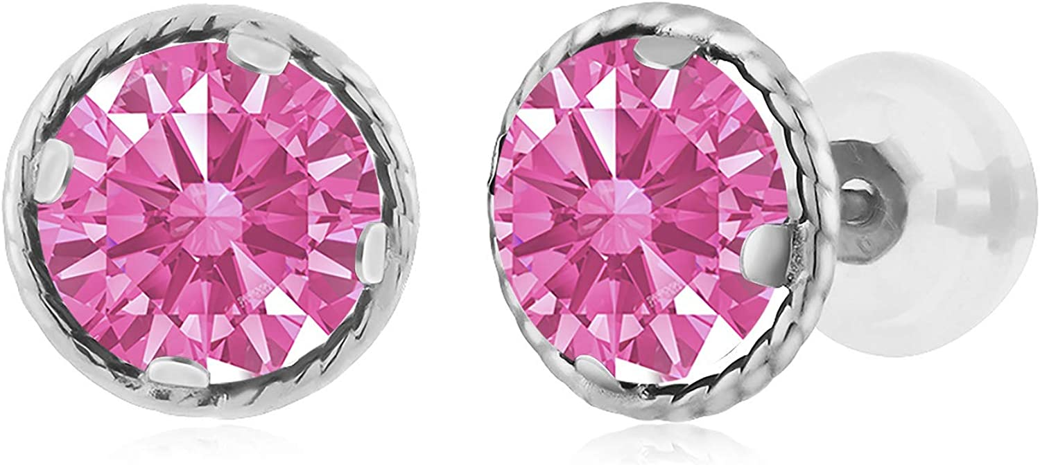 Carlo white Pink 14K White gold Earrings Made With Swarovski Zirconia