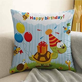 Kids Birthday Pillowcase Hug Pillowcase Cushion Pillow Cartoon Turtle with Birthday Cone Fun Celebration Hat Baloons Bees Presents Anti-Wrinkle Fading Anti-fouling W20 x L20 Inch Multicolor