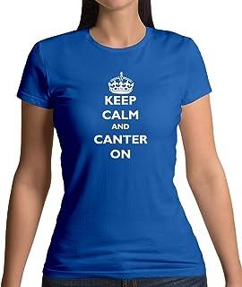 Teesh Clothing Keep Calm and Canter on - Womens T-Shirt-Royal Blue-Medium
