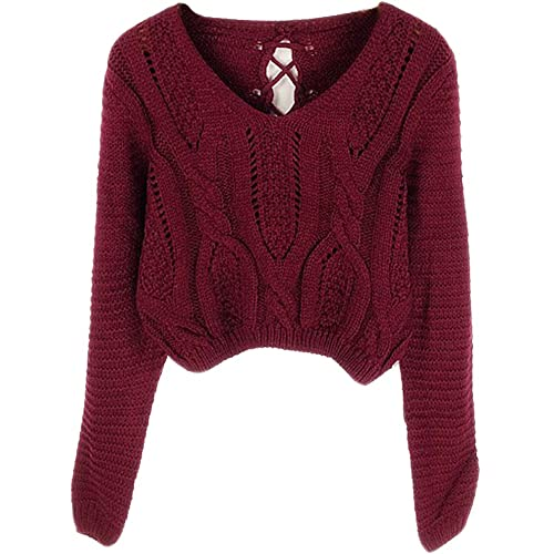 PrettyGuide Women s Sweater Long Sleeve Eyelet Cable Lace Up Crop Top db1831c4e